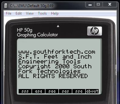 SFT49 on HP50g Emulator